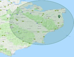 PA Hollingworth, Electricians in Kent - Coverage Map