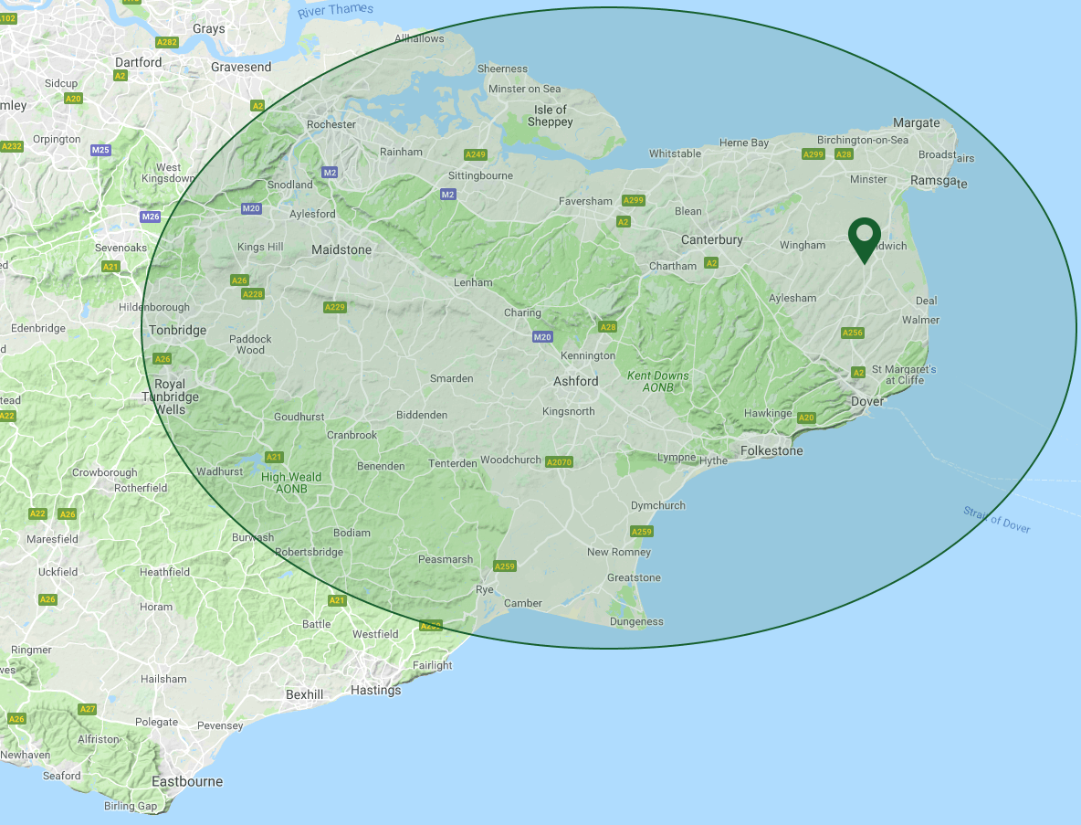 PA Hollingworth, Building Contractors in Kent - Coverage Map