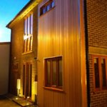 Eye catching exterior highlighted by dramatic lighting