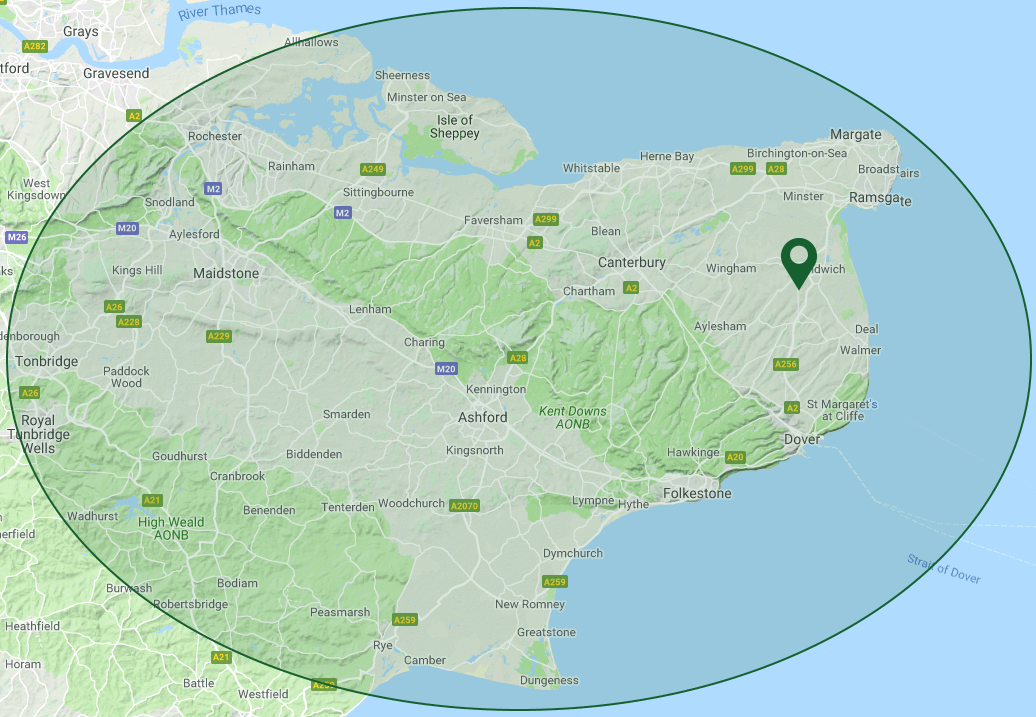PA Hollingworth, Builders & Electrical Contractors in Kent - Coverage Map